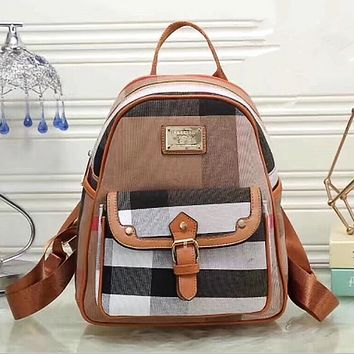 Burberry Women Casual School Bag Cowhide Leather Backpack