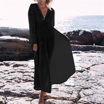 Cover ups Bikini New Beach Cover up Dress Lace Beach Pareos Robe de Plage Cotton Long Beach Dress Bathing suit  2018 Swimsuit Coverup KO_13_1