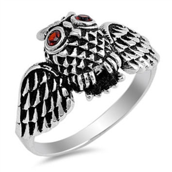 925 Sterling Silver CZ Simulated Garnet Owl 13MM Ring