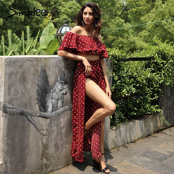 Simplee Off shoulder two piece polka dot  long dress Women side split off wine red maxi long ruffle dress Chic slash neck dress