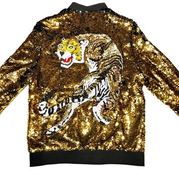 Barabas Men's Black/Gold 'Lion' Sequin Bomber Jacket