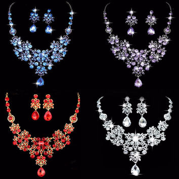 1 set Wedding Bridal Formal Party Prom Jewelry Crystal Rhinestone Necklace Earring Set