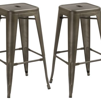 30-inch Industrial Metal Antique Copper Distressed Counter Bar Stool -Two 2