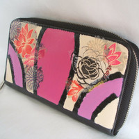 Oversized leather wallet. Upcycled purse. Leather womens wallet. Pink wallet - floral purse - art deco accessory. Colorful floral clutch