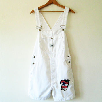 Vintage 1990s High Waisted White Denim Patched Overall Shorts Shortalls Sz S