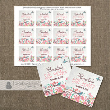 """Little Bird Baby Shower Favor Tags Pink Flowers Birthday Party Labels Thank You Tags 2.25"""" Square DIY Printable or Printed - Amelie Style"""