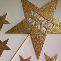 Star Cake topper | birthday cake topper I Party Pick | Gold Cake Topper | Glitter Cake Toppers | Super Star