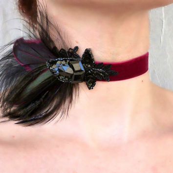 Victorian Wine Red Velvet Choker - Vintage Rhinestone Black Feather Headband Headpiece - Burlesque