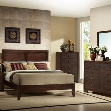 Acme 19570Q 5 pc madison collection espresso finish wood queen platform bed set with panel headboard and tapered legs