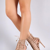 Caged Peep Toe Strappy Lace Up Gladiator Heel