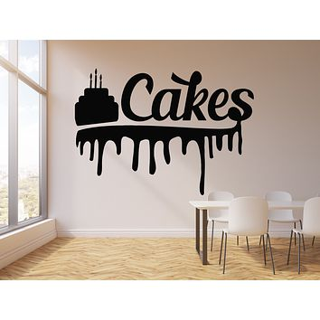 Vinyl Wall Decal Pastry Shop Cakes Kitchen Dining Room Dessert Cream Stickers Mural (g2538)