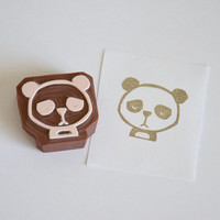 Hand Carved Rubber Stamp / Panda