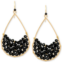 Kenneth Cole New York Gold-Tone Black Stone Teardrop Earrings