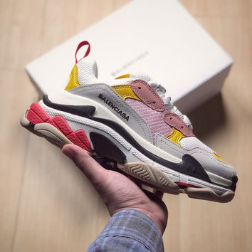 [ Free  Shipping ] Balenciaga Triple S White /Pink /Yellow    Running Sneaker