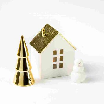 Illuminated House With Snowman (Set of 3)