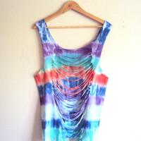 Tie Dye Open Back T-shirt Cropped Top Cut Out Yoga Fitness Beach Summer Tops  Loose Fit Tank Top
