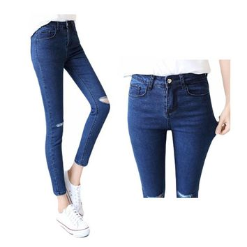 2016 New Vintage Women Hole Ripped Jeans  Elasticity High Waist Skinny Ankle-length Pencil Denim Pants Casual Femme Trousers