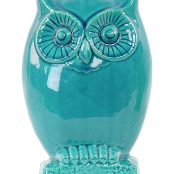 Ceramic Gloss Finish Turquoise Small Owl Figurine on Base