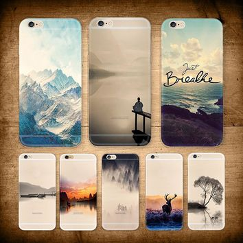 Mountain landscape Scenery Case For iphone 8 7 7plus 8plus 4.7/5.5 Bamboo Forest Ocean Animals Cat Deer Hard Cover Phone Cases