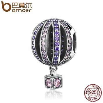 925 Sterling Silver Air Balloon Purple Clear CZ Charms Beads fit Bracelets & Necklaces Jewelry SCC352