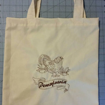 Tote bag with embroidered state bird Pennsylvania or any state with state bird