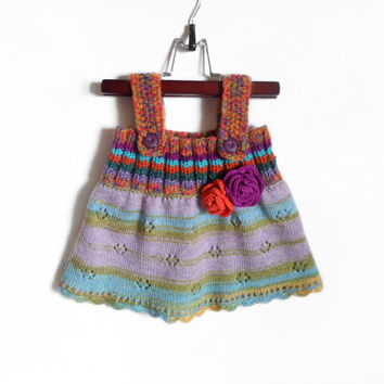 Knitted Girl Tunic Dress - Multicolor, 6 - 9 months