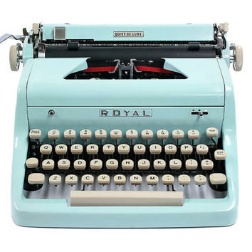 1955 Blue Royal Quiet De Luxe Typewriter / with Original Case and Vintage Metal Ribbon Spools