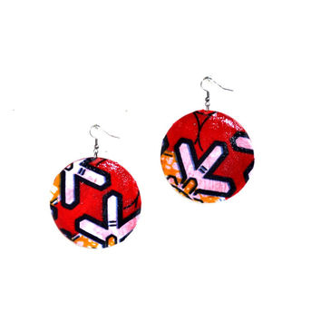 Red African Print Tribal Earrings