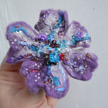 Purple Felt Flower Brooch Pin with Beads,Purple Corsage Pin,Floral Brooch Embroidered with Beads,Wet Felted Wool Flower Free Shipping,