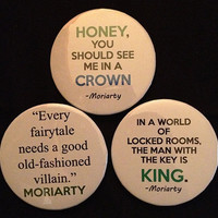 SHERLOCK BBC 3 Large Pinback Button Set - Quotes (Set 2)