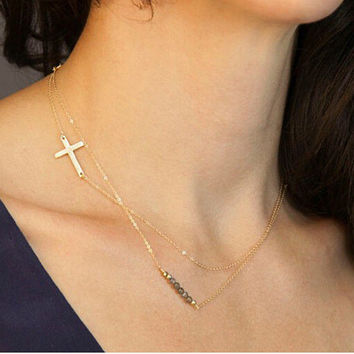 Multilayered Gold Plated Charm Necklace- Collar Bar, Cross - Fashion Jewelry Necklace- Multi strand-Minimalist