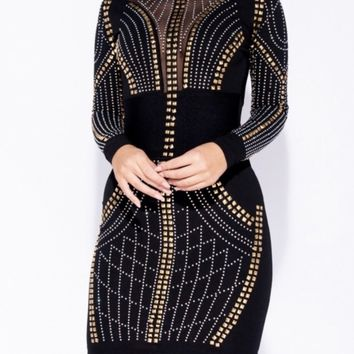Empire State Studded Mesh Bodycon Dress