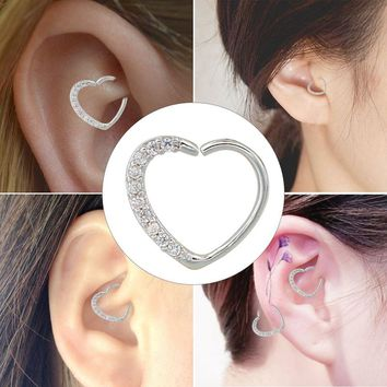 Luxurious Gemstone Heart Earrings Helix, Daith, Tragus