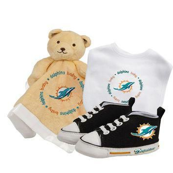Miami Dolphins NFL Infant Blanket Bib and Shoe Deluxe Set