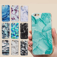 Drawing Relief Soft Smooth Cover Cases For iPhone se 5s 6 6s 7 plus Thin Cute Marble Stone Pattern Stealth Silicon TPU Case