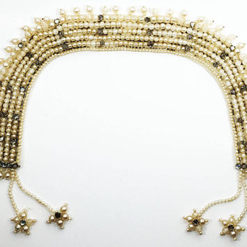 Mid Century White Pearlescent Bead and Rhinestone Collar Necklace, Signed Baar & Beards Inc, 1940s 1950s Theater Fashion Costume Accessory