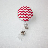 Retractable ID Badge Holder Reel  - Fabric Button -  Red Chevron zig zag zigzag