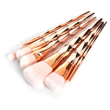 10Pcs Professional Makeup Brush Set Rainbow