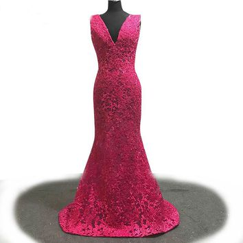 Double V Neck Mermaid Evening Dress Lace Beading Appliques Long Prom Dress Rose Red Party Dress Custom