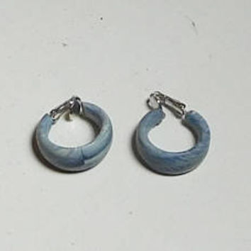 Lightweight Blue Clip On Hoop Earrings, Wide, Thick, Thin, Marble Look, Lightweight, Plastic, Never Worn, Vintage 80s, Costume Jewelry
