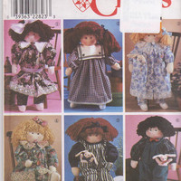 "Sewing pattern for 22"" stuffed and jointed girl or boy doll with 6 outfits dress, pantaloons, overalls, shirt Simplicity 8688 UNCUT"