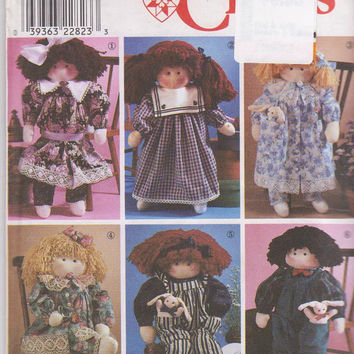 """Sewing pattern for 22"""" stuffed and jointed girl or boy doll with 6 outfits dress, pantaloons, overalls, shirt Simplicity 8688 UNCUT"""