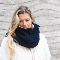 Women blue circle scarf chunky infinity cowl, Erato Cowl, gift for her, under 50