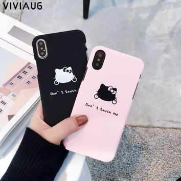 VIVIAUG Fashion Hello kitty Case For iphone X 6 6s 7 8 8 plus Case Matte Hard Phone Cases Back Cover Fundas Capa Don't touch you