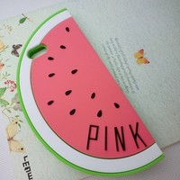 Efreecity® 3D Cute Pineapple Sexy Lips Design Pattern Soft Silicone Case Cover For iPhone 5/5S (pink watermelon)