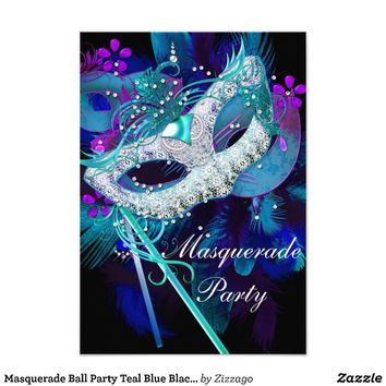 Masquerade Ball Party Teal Blue Black Masks Custom Invitations from Zazzle.com