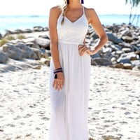 Crochet Cutout Maxi Dress - White - Lookbook Store