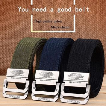120CM Nylon Double Ring Alloy Buckle Belt Outdoor Sport Military Tactical Strip