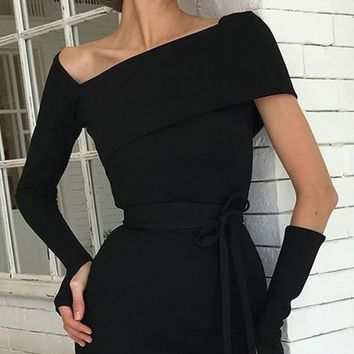 Cut Him Out Black Long Sleeve One Shoulder Asymmetric V Neck Detached Sleeve Bodycon Midi Dress