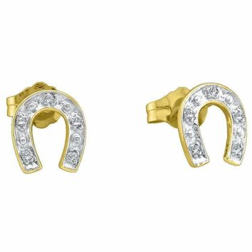 10kt Yellow Two-tone Gold Women's Round Diamond Horseshoe Stud Earrings 1-20 Cttw - FREE Shipping (US/CAN)